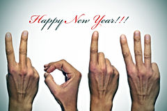 Happy new year 2013. Happy new year with hands forming number 2013 royalty free stock photo