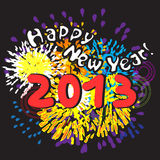 Happy new year 2013. Greetings card with fireworks over black night background Stock Photo