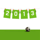 Happy New Year 2013. Soccer jerseys on cord, illustration royalty free illustration