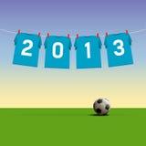 Happy New Year 2013. Soccer jerseys on cord, illustration Stock Image