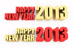 Happy new year 2013. 3D Render of the text Happy New Year 2013 on white background Royalty Free Stock Photography