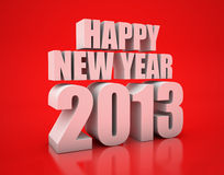 Happy new year 2013. 3D Render of the text Happy New Year on red background stock illustration