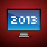 Happy new year 2013. Message on pc screen Stock Photo