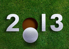 Happy new year 2013. Golf sport conceptual image Royalty Free Stock Photography