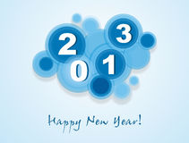 Happy New Year 2013. Background with  blue circles, date 2013 and a wish Happy New Year Royalty Free Stock Photo