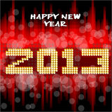 Happy New Year 2013. Happy new year's eve with a multicolored background, bright text like little light ball Royalty Free Stock Image