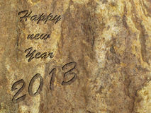 Happy new year 2013. 2013 engraved in ancient stone Stock Image