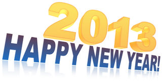 Happy new year 2013. Surround the text 2013 Happy New Year! on a white background Royalty Free Stock Photos