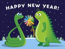 Happy New Year 2013!. The dragon gives the Snake of a magic flower Royalty Free Stock Image
