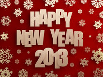 Happy new year 2013. Golden happy new year 2013 text with snowflakes on red background. 3d image Stock Image
