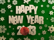 Happy new year 2013. Golden happy new year 2013 text with red christmas ball on green background. 3d image Stock Photos