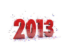 Happy New Year 2013. Happy New Year text with confetti Royalty Free Stock Images