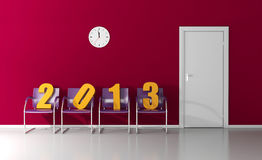 Happy New Year 2013. New year 2013 waiting in the waiting room to enter the door Royalty Free Stock Photo