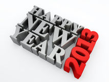 Happy new year 2013. Silver happy new year 2013 text on white background. 3d image Royalty Free Stock Photo