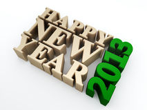 Happy new year 2013. Golden happy new year 2013 text on white background. 3d image stock illustration