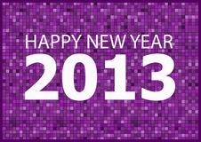 Happy New Year 2013. Graphic Happy New Year 2013 with white text and purple background Royalty Free Stock Image