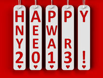 Happy new year 2013. On the metal labels, three-dimensional rendering Stock Photo