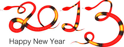 Happy New Year 2013. The year of snake on white background vector illustration