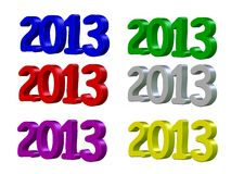Happy New Year 2013 in 3D Royalty Free Stock Image