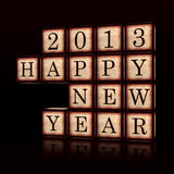 Happy New Year 2013 in 3d wooden cubes. 3d wooden cubes over black with figures makes text Happy New Year 2013, retro concept vector illustration