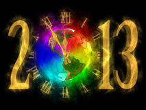 Happy new year 2013 - America. Illustration of rainbow planet Earth and cosmic clock. Happy new year 2013. You can see America Stock Photo