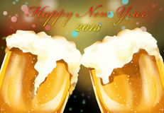 Happy new year 2013 beer celebration. Happy new year. celebrate the eve night with the cold amber beer with your love one and friends Stock Image