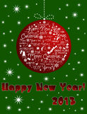 Happy New Year 2013 card. Red ball on a green background with sparkly stars. Happy New Year wishes Royalty Free Stock Photography