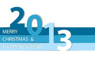 Happy New Year 2013  card. Blue and white Happy New Year 2013  card Royalty Free Stock Photo
