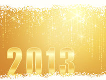 Happy New Year 2013 card. Festive golden sparkling Christmas / New Years background with snow, shiny stars and the number 2013 Royalty Free Stock Images