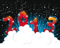 Happy New Year 2013 carton illustration. On black background Royalty Free Stock Photo