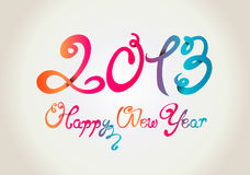 Happy New Year 2013 curly hand letters. On background Stock Images
