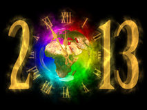 Happy new year 2013 - Europe, Africa, Asia. Illustration of rainbow planet Earth and cosmic clock. Happy new year 2013. You can see Europe, Asia and Africa Royalty Free Stock Image