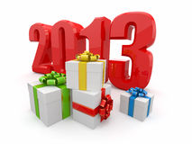 Happy New year 2013. Gifts. Royalty Free Stock Photo