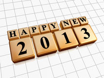 Happy new year 2013 in golden cubes Royalty Free Stock Image
