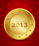 Happy New Year 2013 Golden Label Stock Photo