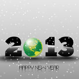 Happy New Year 2013 with Green World. Happy new year's eve with snow and green world sphere Stock Photos