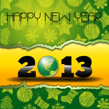 Happy New Year 2013 with green World Globe. Happy new years eve with snow and Green world Globe on a yellow torn paper with christmas icons royalty free illustration