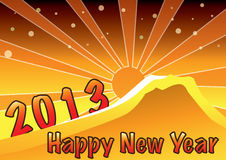 Happy new year 2013 greeting card. Happy new year greeting illustration! wishing a great new year as bright as sun rise Stock Photos