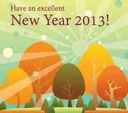 Happy new year 2013 greeting card. Have an excellent new year for the coming 2013. sun rise behind the beautiful trees Royalty Free Stock Photography
