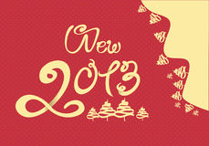 Happy New Year 2013 illustration. With red background stock illustration