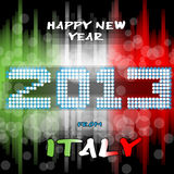 Happy New Year 2013 from Italy. Happy new year's eve with a multicolored background, bright text like little light ball and the colors of the italian flag, green Stock Photo