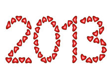 Happy New Year 2013 made from hearts. Isolated on white background, illustration Royalty Free Stock Images