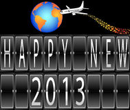 Happy New Year 2013 mechanical timetable. Terminal airplane circling the globe Stock Illustration