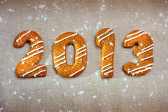 Happy new year 2013 message. Christmas cookies in shape numeral Royalty Free Stock Photos