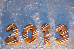 Happy new year 2013 message. Christmas cookies in shape numeral Stock Photos