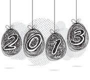 Happy New Year 2013 pencil line illustration.  Royalty Free Stock Photos