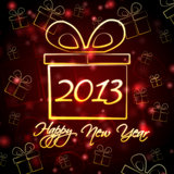 Happy New Year 2013 in present box. Abstract red background card with golden presents boxes and text Happy New Year 2013 Royalty Free Stock Image