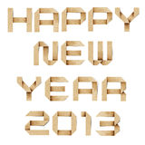 Happy new year 2013 recycled papercraft. Happy new year 2013 recycled paper background Stock Photography