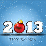 Happy New Year 2013 with Red Christmas Ball Stock Images