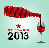 Happy new year 2013 ribbon wine bottle shape  / Vector illustrat Royalty Free Stock Photo